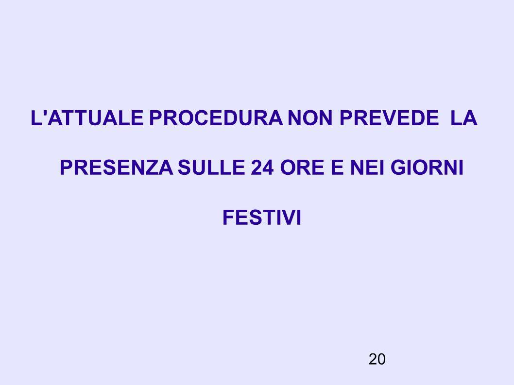 20 L'ATTUALE PROCEDURA NON PREVEDE LA PRESENZA SULLE 24 ORE E NEI GIORNI FESTIVI