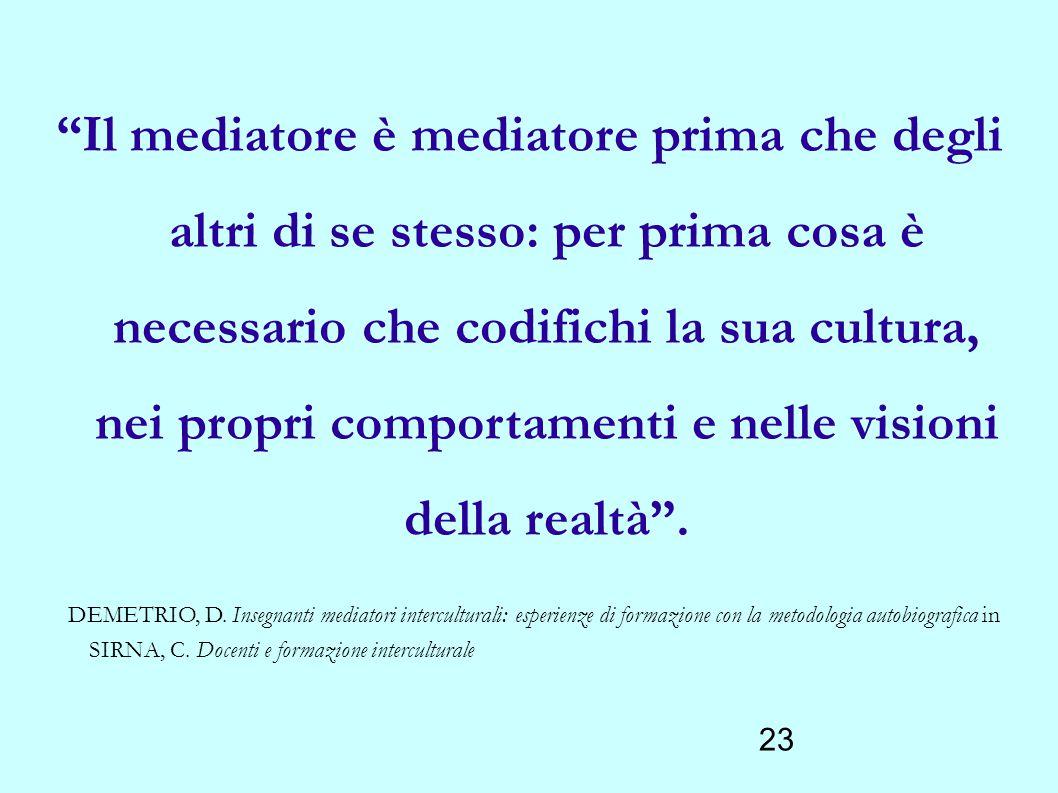 """23 """"Il mediatore è mediatore prima che degli altri di se stesso: per prima cosa è necessario che codifichi la sua cultura, nei propri comportamenti e"""