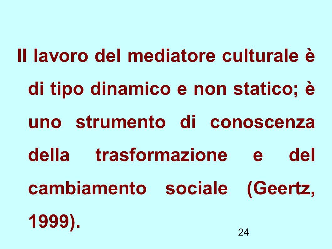24 Il lavoro del mediatore culturale è di tipo dinamico e non statico; è uno strumento di conoscenza della trasformazione e del cambiamento sociale (G