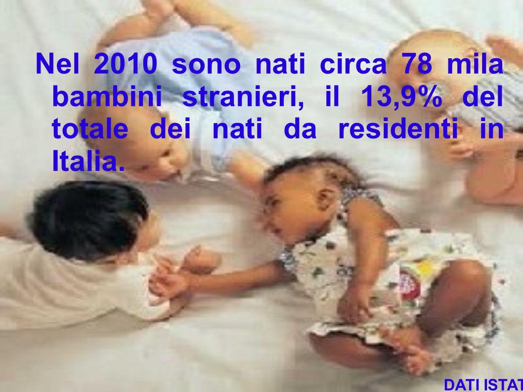 Nel 2010 sono nati circa 78 mila bambini stranieri, il 13,9% del totale dei nati da residenti in Italia. DATI ISTAT