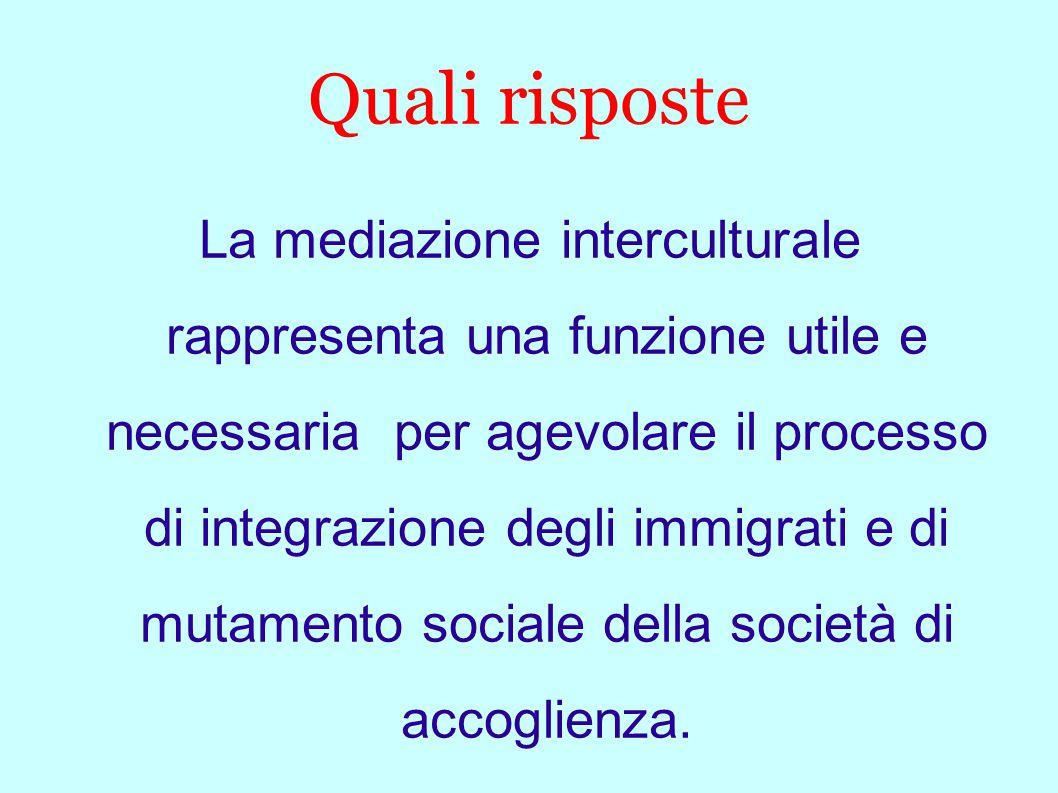 Quali risposte La mediazione interculturale rappresenta una funzione utile e necessaria per agevolare il processo di integrazione degli immigrati e di