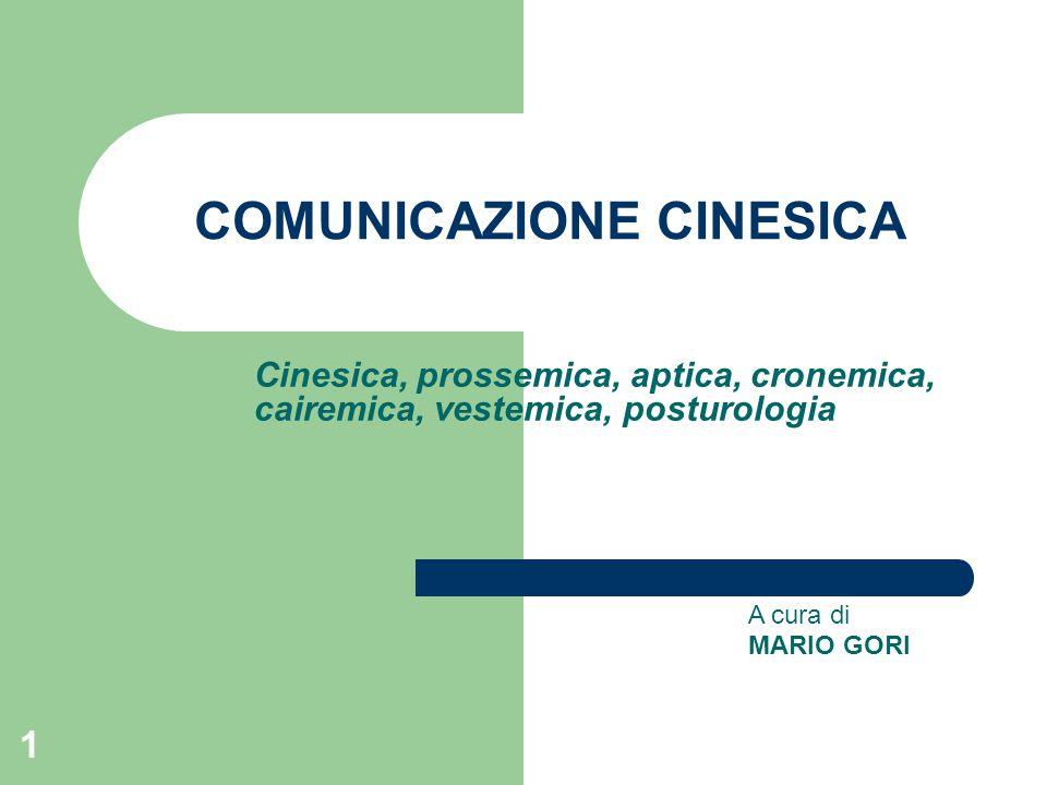 1 COMUNICAZIONE CINESICA Cinesica, prossemica, aptica, cronemica, cairemica, vestemica, posturologia A cura di MARIO GORI
