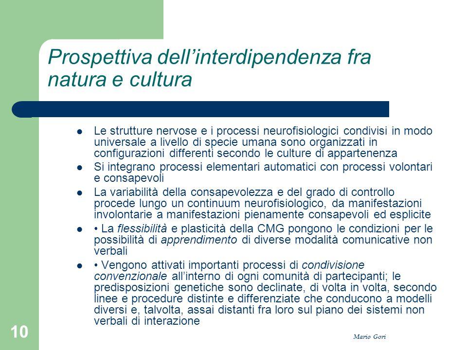 Mario Gori 10 Prospettiva dell'interdipendenza fra natura e cultura Le strutture nervose e i processi neurofisiologici condivisi in modo universale a