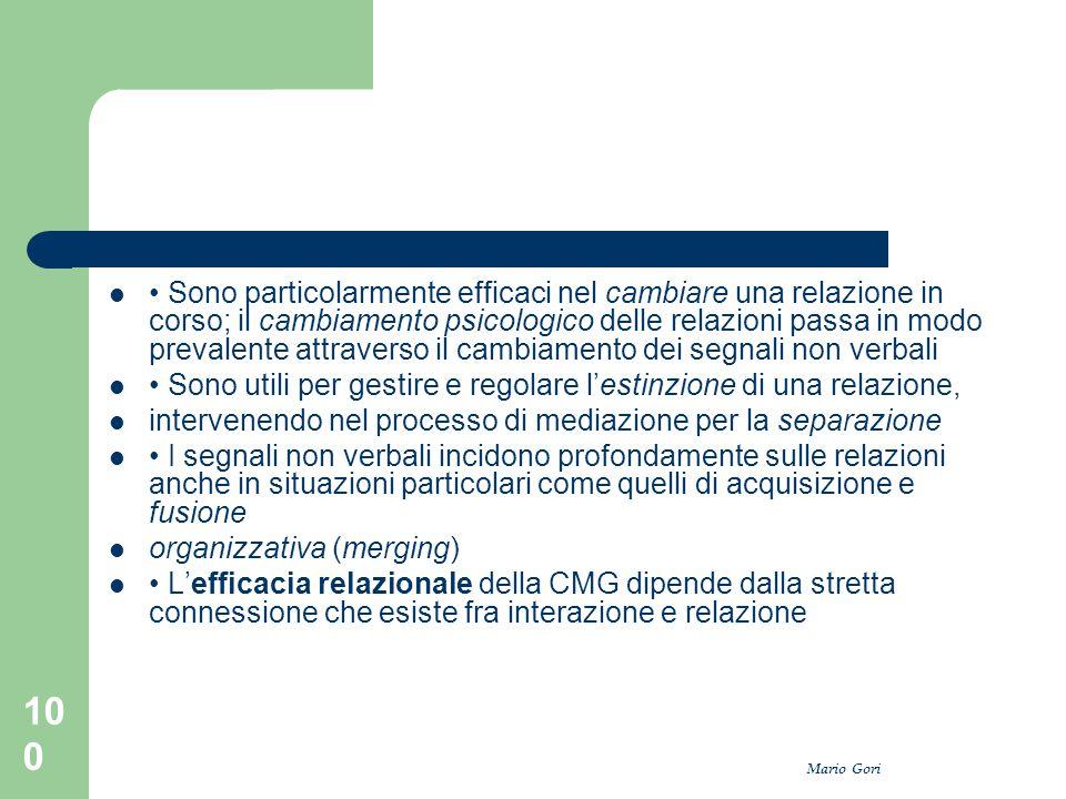Mario Gori 100 Sono particolarmente efficaci nel cambiare una relazione in corso; il cambiamento psicologico delle relazioni passa in modo prevalente
