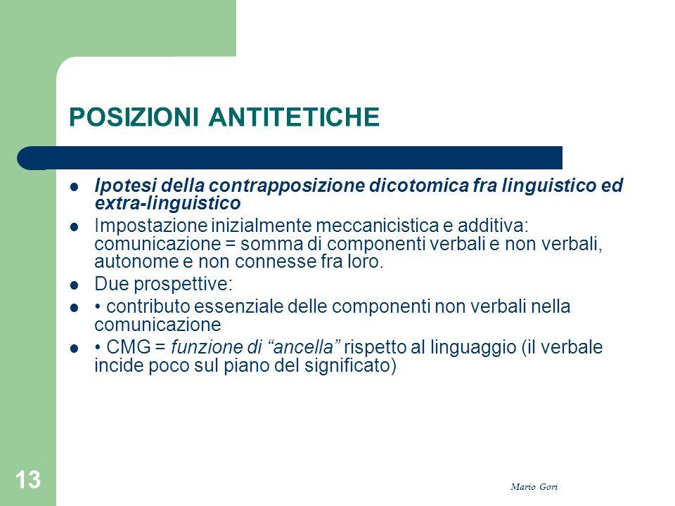 Mario Gori 13 POSIZIONI ANTITETICHE Ipotesi della contrapposizione dicotomica fra linguistico ed extra-linguistico Impostazione inizialmente meccanici