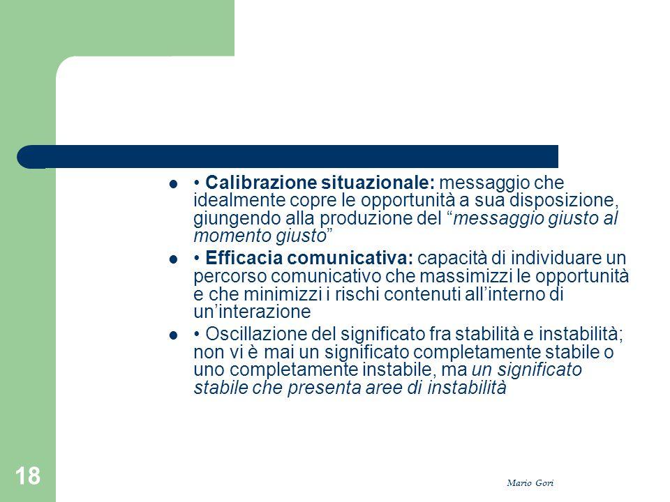 """Mario Gori 18 Calibrazione situazionale: messaggio che idealmente copre le opportunità a sua disposizione, giungendo alla produzione del """"messaggio gi"""