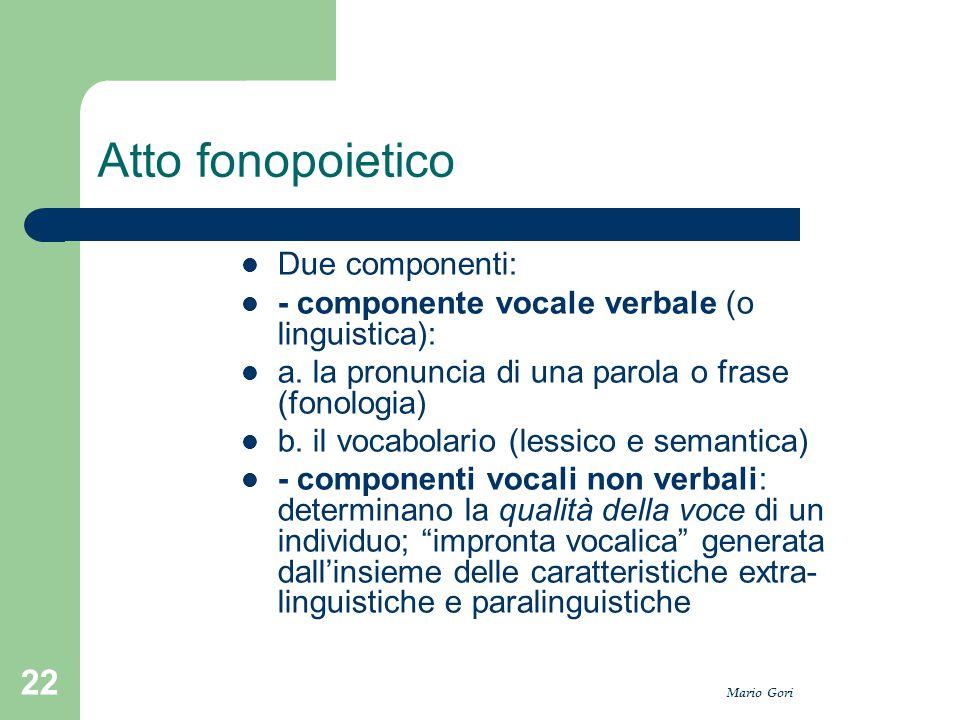 Mario Gori 22 Atto fonopoietico Due componenti: - componente vocale verbale (o linguistica): a. la pronuncia di una parola o frase (fonologia) b. il v