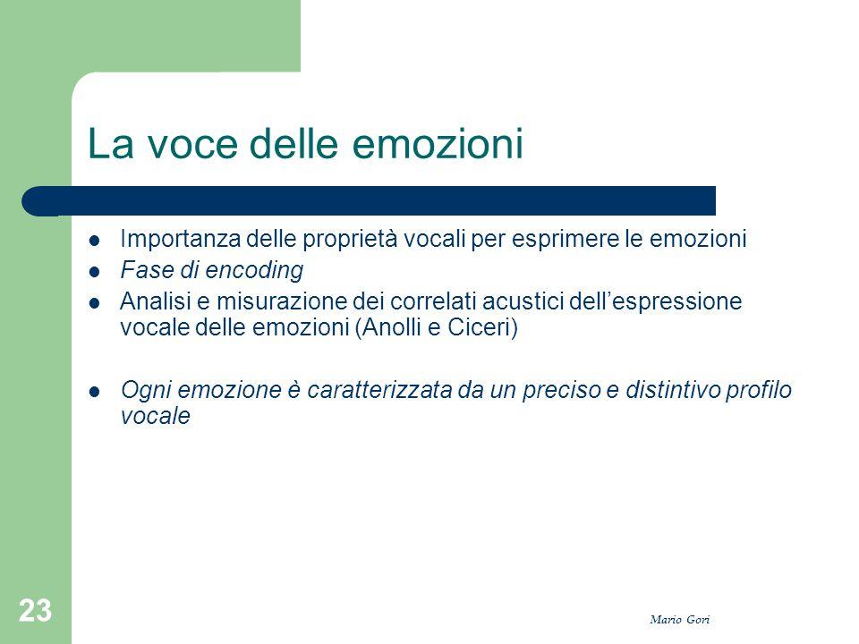 Mario Gori 23 La voce delle emozioni Importanza delle proprietà vocali per esprimere le emozioni Fase di encoding Analisi e misurazione dei correlati