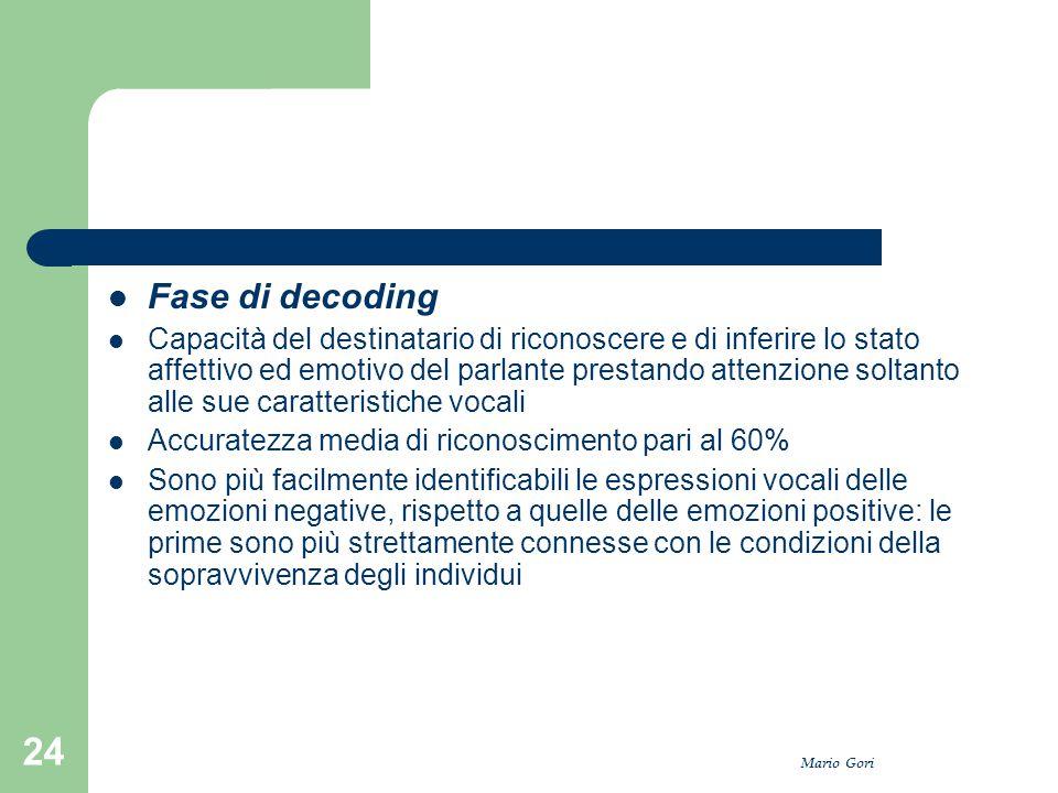 Mario Gori 24 Fase di decoding Capacità del destinatario di riconoscere e di inferire lo stato affettivo ed emotivo del parlante prestando attenzione