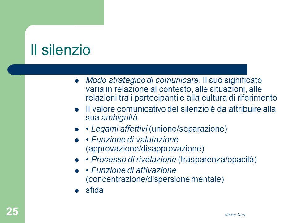 Mario Gori 25 Il silenzio Modo strategico di comunicare. Il suo significato varia in relazione al contesto, alle situazioni, alle relazioni tra i part