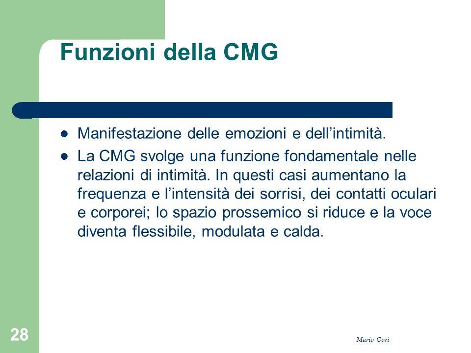 Mario Gori 28 Funzioni della CMG Manifestazione delle emozioni e dell'intimità. La CMG svolge una funzione fondamentale nelle relazioni di intimità. I