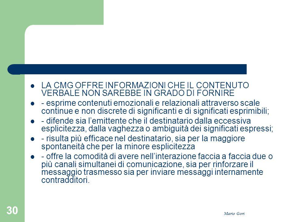 Mario Gori 30 LA CMG OFFRE INFORMAZIONI CHE IL CONTENUTO VERBALE NON SAREBBE IN GRADO DI FORNIRE - esprime contenuti emozionali e relazionali attraver