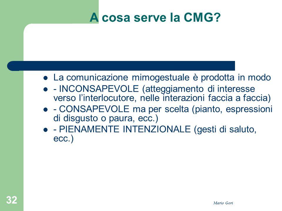 Mario Gori 32 A cosa serve la CMG? La comunicazione mimogestuale è prodotta in modo - INCONSAPEVOLE (atteggiamento di interesse verso l'interlocutore,