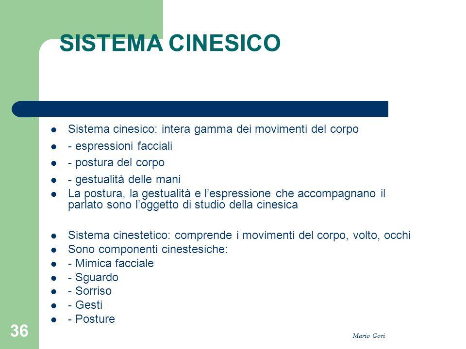 Mario Gori 36 SISTEMA CINESICO Sistema cinesico: intera gamma dei movimenti del corpo - espressioni facciali - postura del corpo - gestualità delle ma