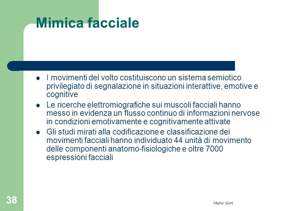 Mario Gori 38 Mimica facciale I movimenti del volto costituiscono un sistema semiotico privilegiato di segnalazione in situazioni interattive, emotive