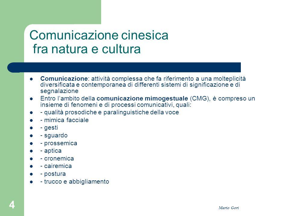 Mario Gori 4 Comunicazione cinesica fra natura e cultura Comunicazione: attività complessa che fa riferimento a una molteplicità diversificata e conte