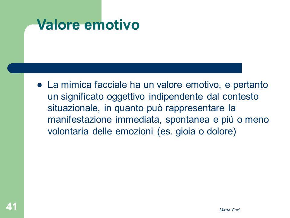 Mario Gori 41 Valore emotivo La mimica facciale ha un valore emotivo, e pertanto un significato oggettivo indipendente dal contesto situazionale, in q