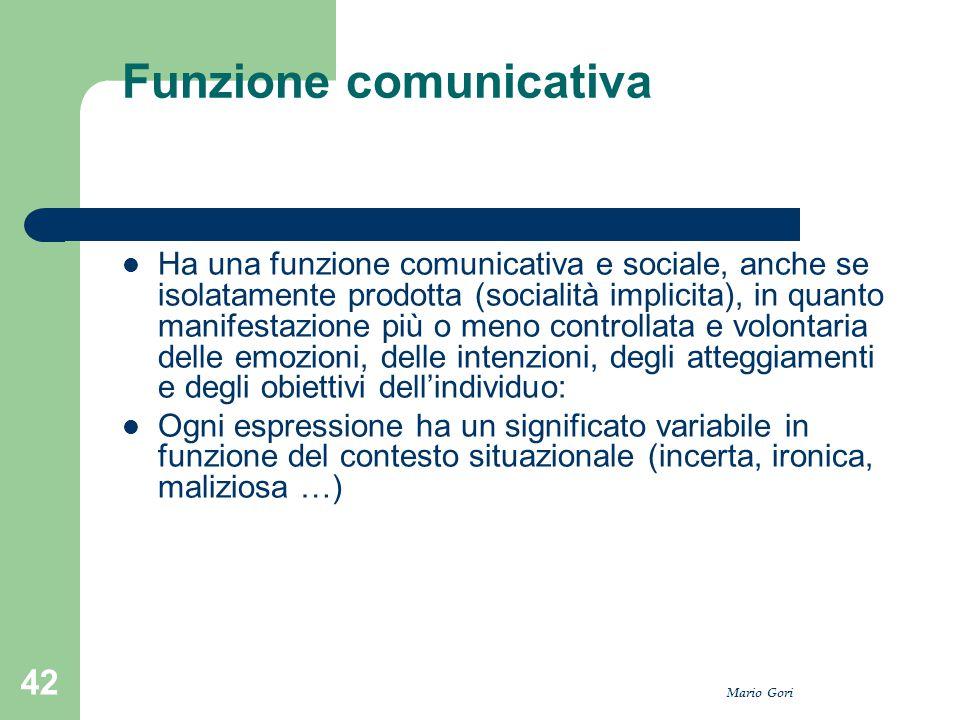 Mario Gori 42 Funzione comunicativa Ha una funzione comunicativa e sociale, anche se isolatamente prodotta (socialità implicita), in quanto manifestaz