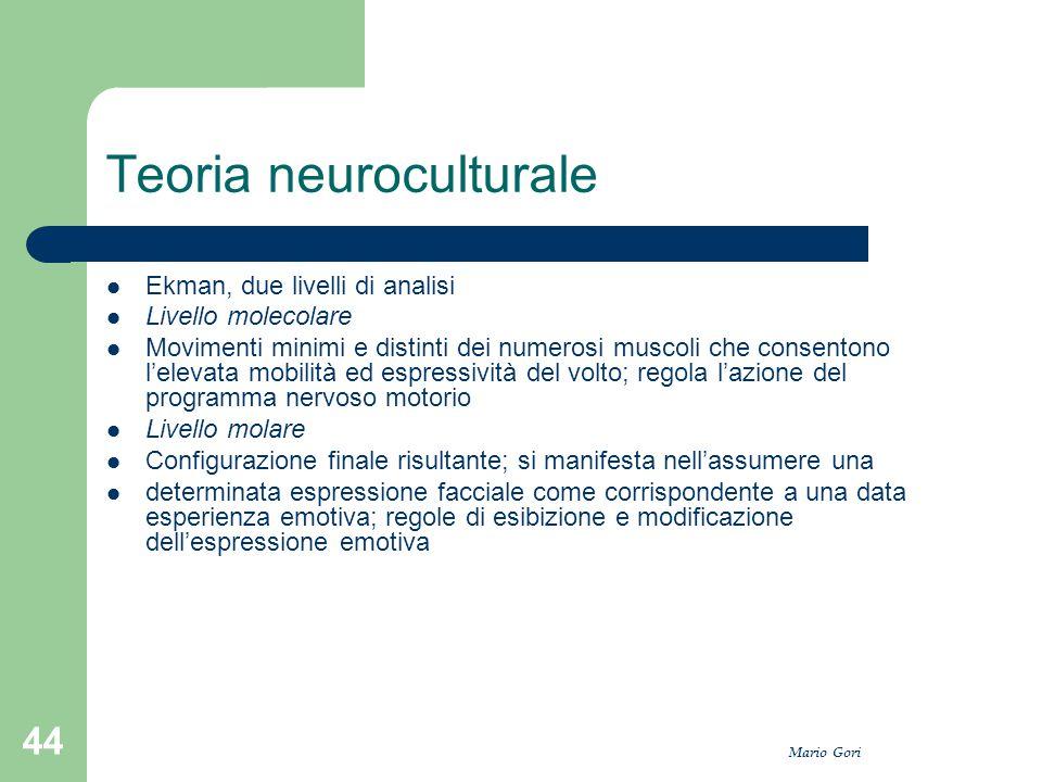 Mario Gori 44 Teoria neuroculturale Ekman, due livelli di analisi Livello molecolare Movimenti minimi e distinti dei numerosi muscoli che consentono l