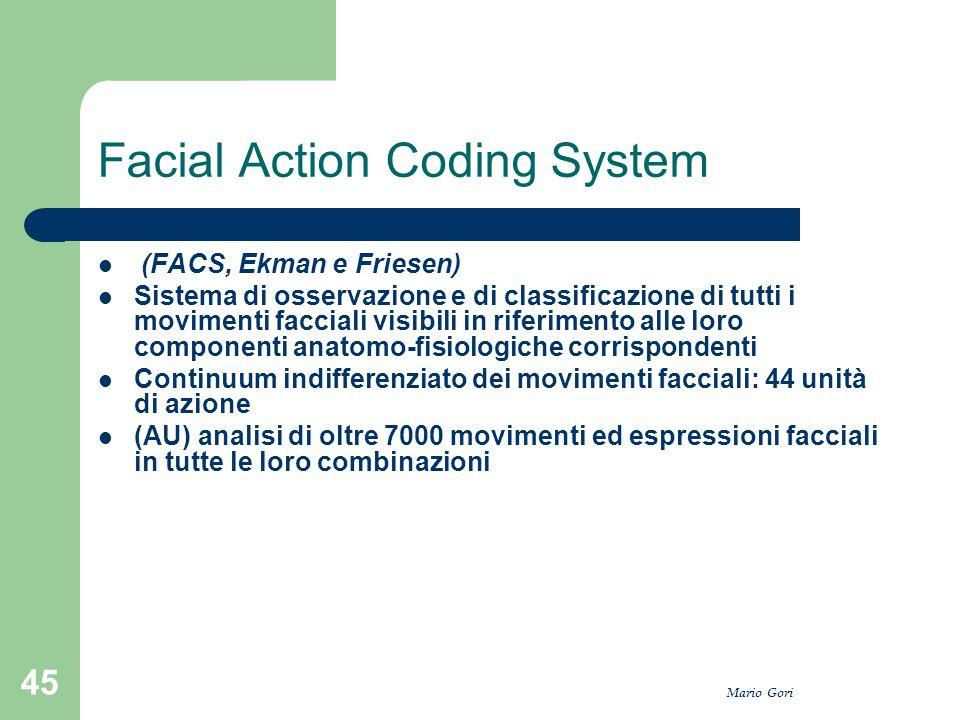 Mario Gori 45 Facial Action Coding System (FACS, Ekman e Friesen) Sistema di osservazione e di classificazione di tutti i movimenti facciali visibili