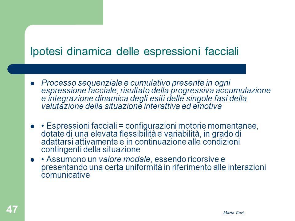 Mario Gori 47 Ipotesi dinamica delle espressioni facciali Processo sequenziale e cumulativo presente in ogni espressione facciale; risultato della pro