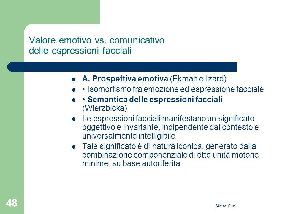 Mario Gori 48 Valore emotivo vs. comunicativo delle espressioni facciali A. Prospettiva emotiva (Ekman e Izard) Isomorfismo fra emozione ed espression