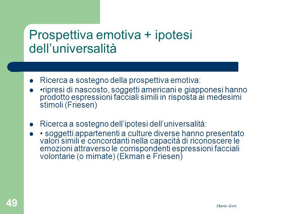 Mario Gori 49 Prospettiva emotiva + ipotesi dell'universalità Ricerca a sostegno della prospettiva emotiva: ripresi di nascosto, soggetti americani e