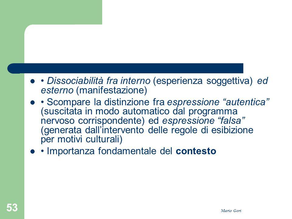 """Mario Gori 53 Dissociabilità fra interno (esperienza soggettiva) ed esterno (manifestazione) Scompare la distinzione fra espressione """"autentica"""" (susc"""
