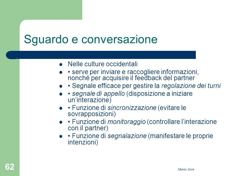 Mario Gori 62 Sguardo e conversazione Nelle culture occidentali serve per inviare e raccogliere informazioni, nonché per acquisire il feedback del par