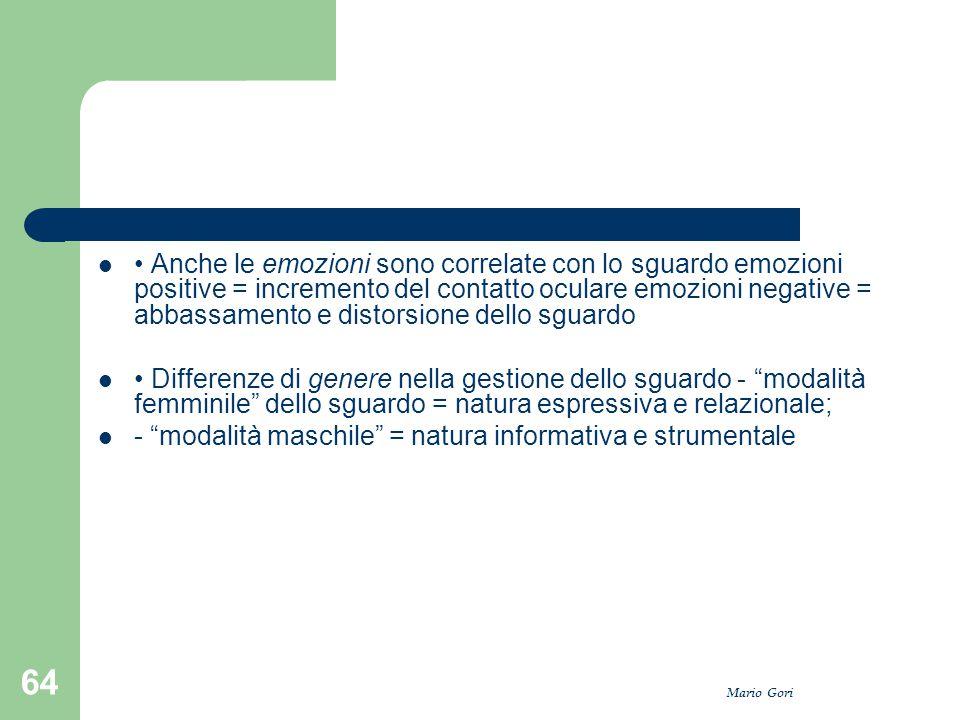 Mario Gori 64 Anche le emozioni sono correlate con lo sguardo emozioni positive = incremento del contatto oculare emozioni negative = abbassamento e d