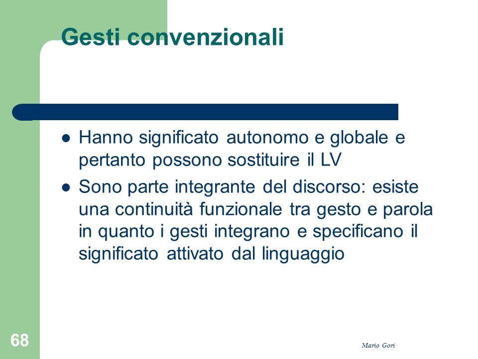 Mario Gori 68 Gesti convenzionali Hanno significato autonomo e globale e pertanto possono sostituire il LV Sono parte integrante del discorso: esiste