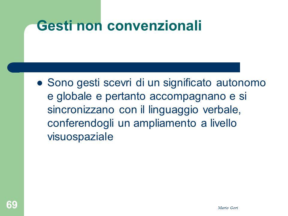 Mario Gori 69 Gesti non convenzionali Sono gesti scevri di un significato autonomo e globale e pertanto accompagnano e si sincronizzano con il linguag