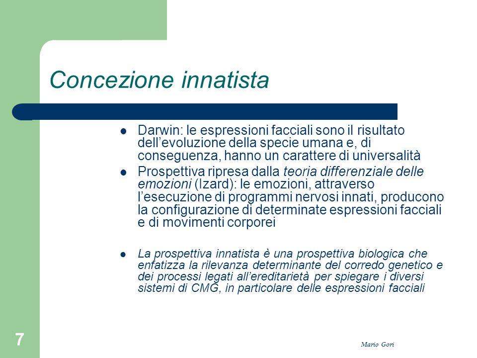Mario Gori 7 Concezione innatista Darwin: le espressioni facciali sono il risultato dell'evoluzione della specie umana e, di conseguenza, hanno un car