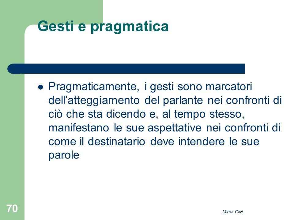 Mario Gori 70 Gesti e pragmatica Pragmaticamente, i gesti sono marcatori dell'atteggiamento del parlante nei confronti di ciò che sta dicendo e, al te