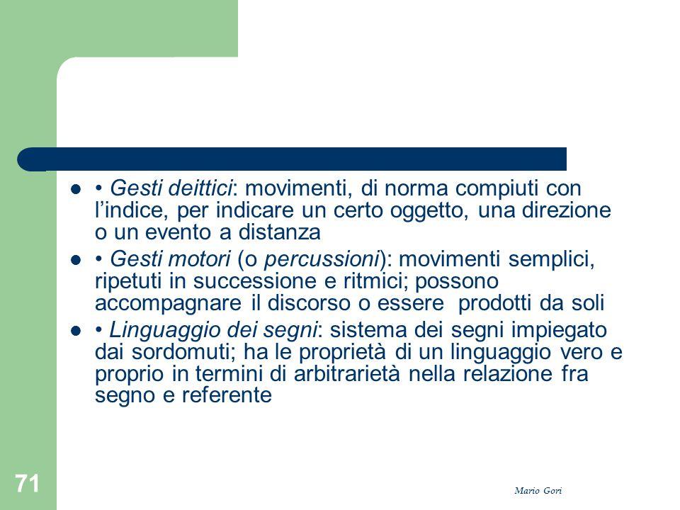 Mario Gori 71 Gesti deittici: movimenti, di norma compiuti con l'indice, per indicare un certo oggetto, una direzione o un evento a distanza Gesti mot