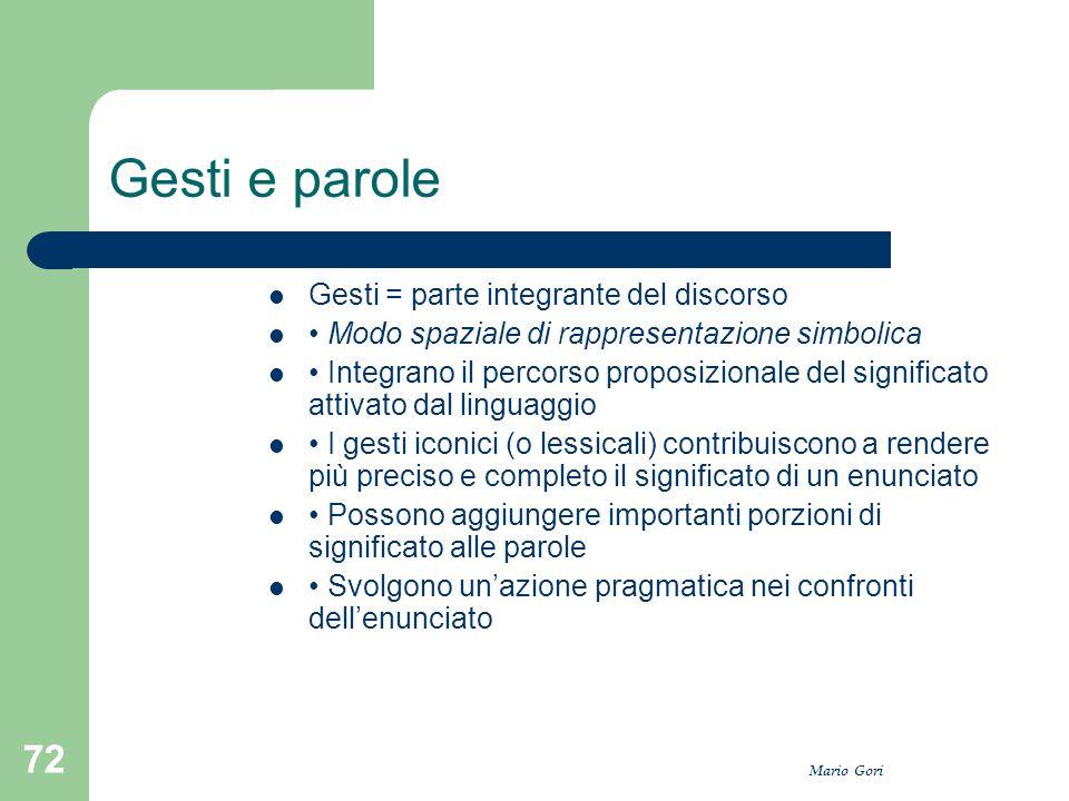 Mario Gori 72 Gesti e parole Gesti = parte integrante del discorso Modo spaziale di rappresentazione simbolica Integrano il percorso proposizionale de
