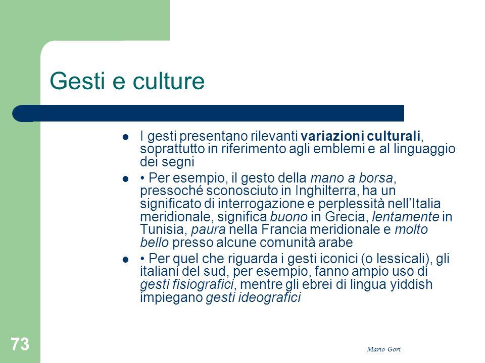 Mario Gori 73 Gesti e culture I gesti presentano rilevanti variazioni culturali, soprattutto in riferimento agli emblemi e al linguaggio dei segni Per