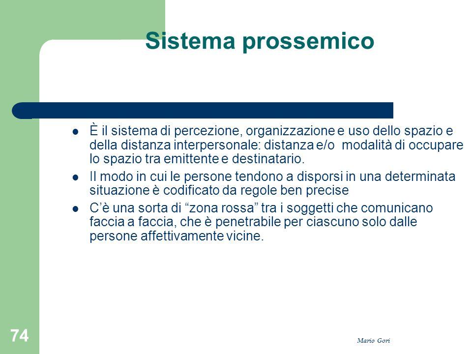 Mario Gori 74 Sistema prossemico È il sistema di percezione, organizzazione e uso dello spazio e della distanza interpersonale: distanza e/o modalità