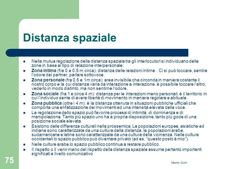 Mario Gori 75 Distanza spaziale Nella mutua regolazione della distanza spaziale tra gli interlocutori si individuano delle zone in base al tipo di rel