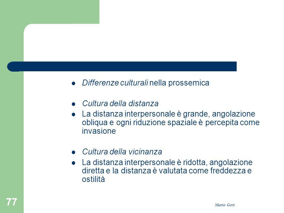 Mario Gori 77 Differenze culturali nella prossemica Cultura della distanza La distanza interpersonale è grande, angolazione obliqua e ogni riduzione s
