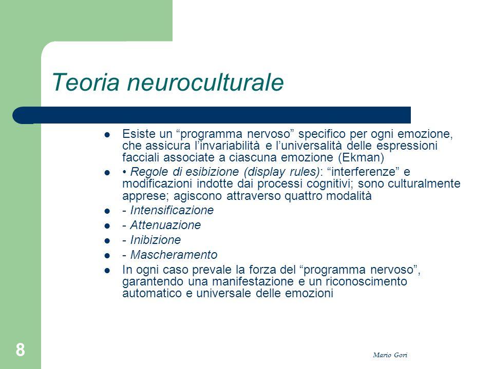 """Mario Gori 8 Teoria neuroculturale Esiste un """"programma nervoso"""" specifico per ogni emozione, che assicura l'invariabilità e l'universalità delle espr"""