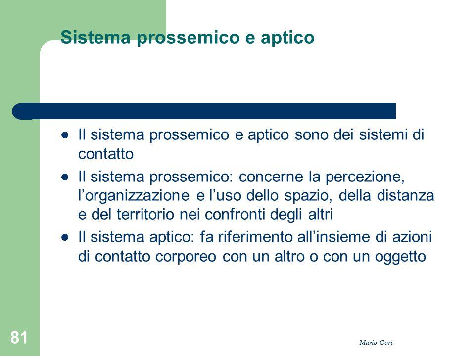 Mario Gori 81 Sistema prossemico e aptico Il sistema prossemico e aptico sono dei sistemi di contatto Il sistema prossemico: concerne la percezione, l