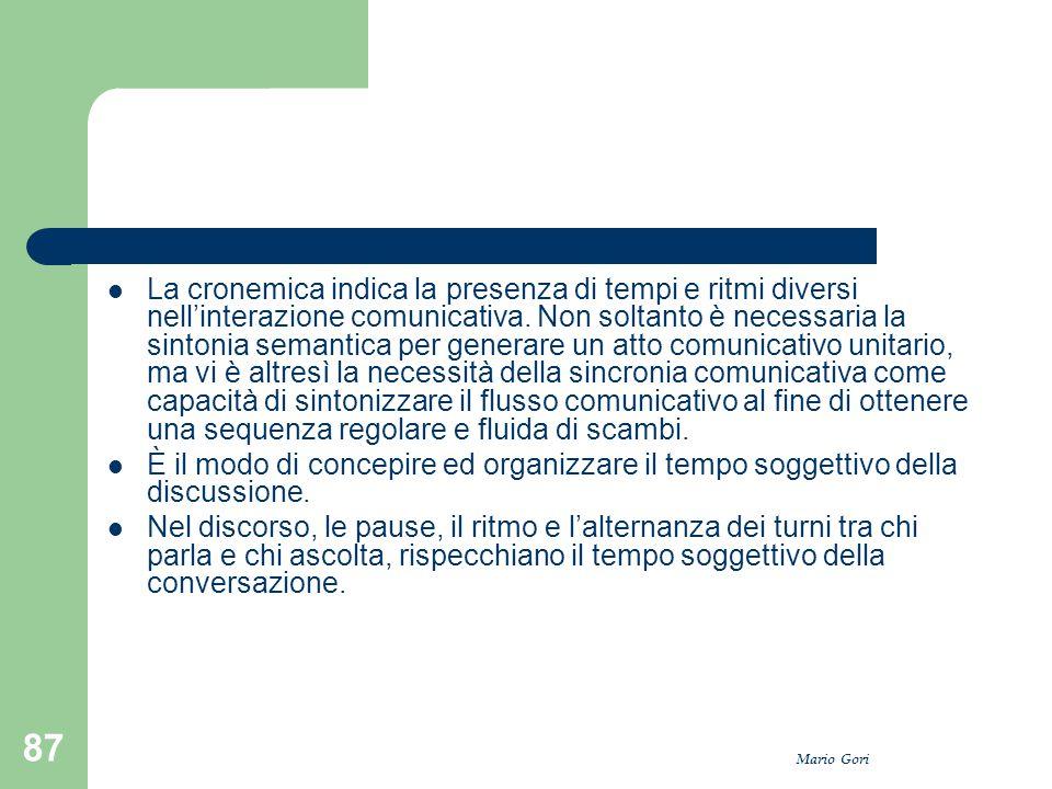 Mario Gori 87 La cronemica indica la presenza di tempi e ritmi diversi nell'interazione comunicativa. Non soltanto è necessaria la sintonia semantica