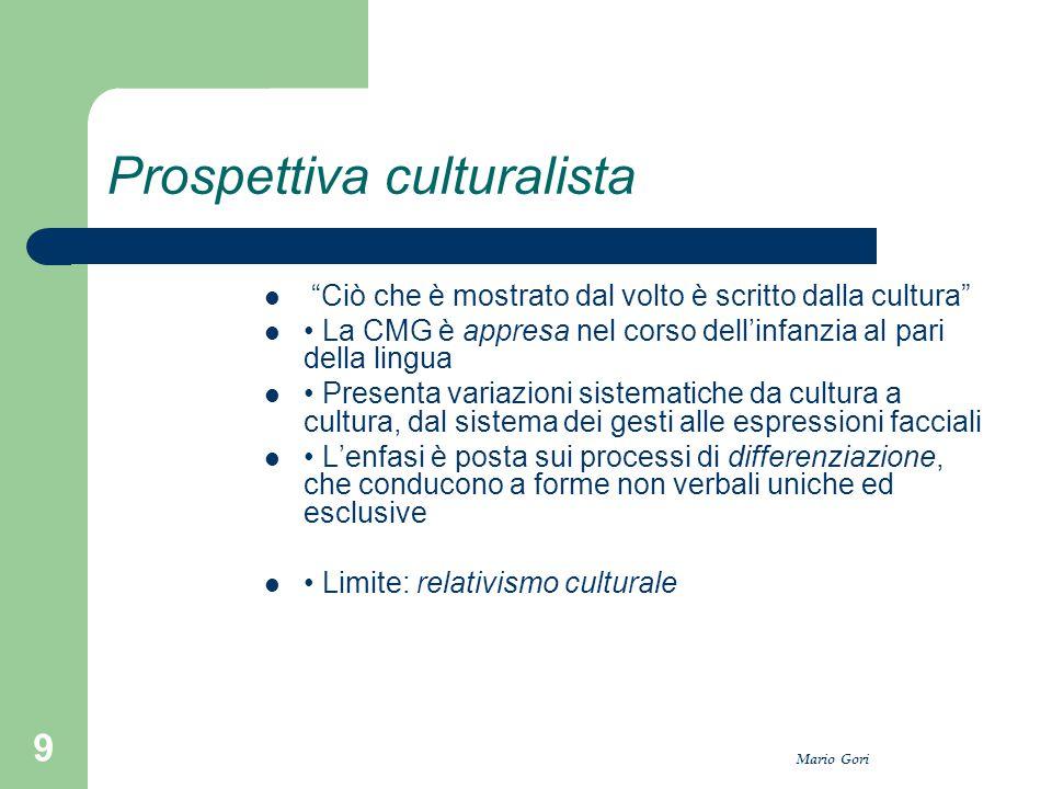 """Mario Gori 9 Prospettiva culturalista """"Ciò che è mostrato dal volto è scritto dalla cultura"""" La CMG è appresa nel corso dell'infanzia al pari della li"""