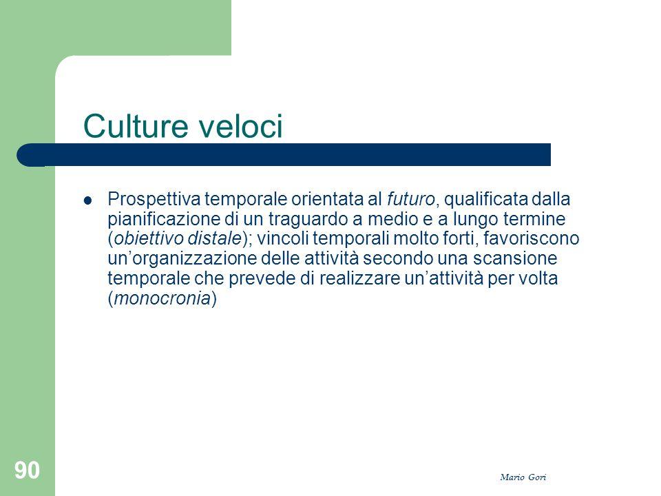 Mario Gori 90 Culture veloci Prospettiva temporale orientata al futuro, qualificata dalla pianificazione di un traguardo a medio e a lungo termine (ob