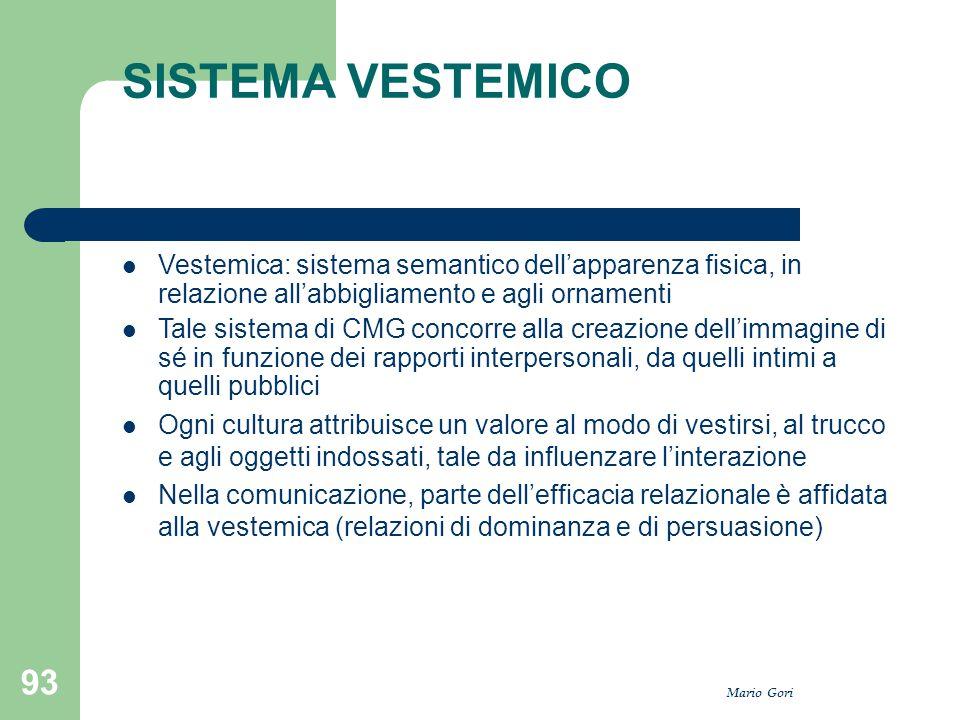 Mario Gori 93 SISTEMA VESTEMICO Vestemica: sistema semantico dell'apparenza fisica, in relazione all'abbigliamento e agli ornamenti Tale sistema di CM
