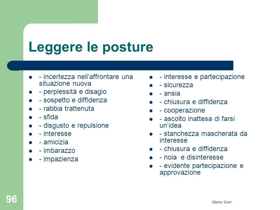 Mario Gori 96 Leggere le posture - incertezza nell'affrontare una situazione nuova - perplessità e disagio - sospetto e diffidenza - rabbia trattenuta