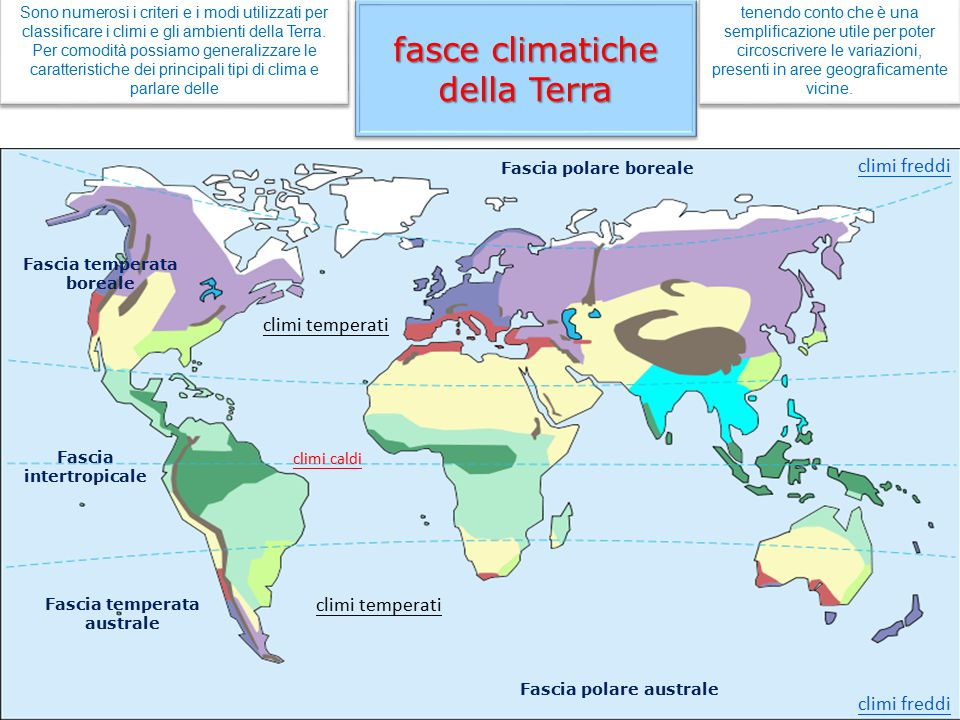 fasce climatiche della Terra Sono numerosi i criteri e i modi utilizzati per classificare i climi e gli ambienti della Terra. Per comodità possiamo ge