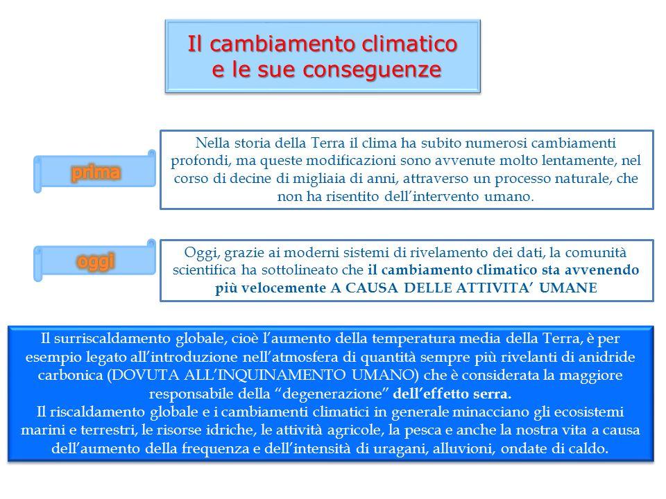 Il cambiamento climatico e le sue conseguenze e le sue conseguenze Il cambiamento climatico e le sue conseguenze e le sue conseguenze Nella storia del