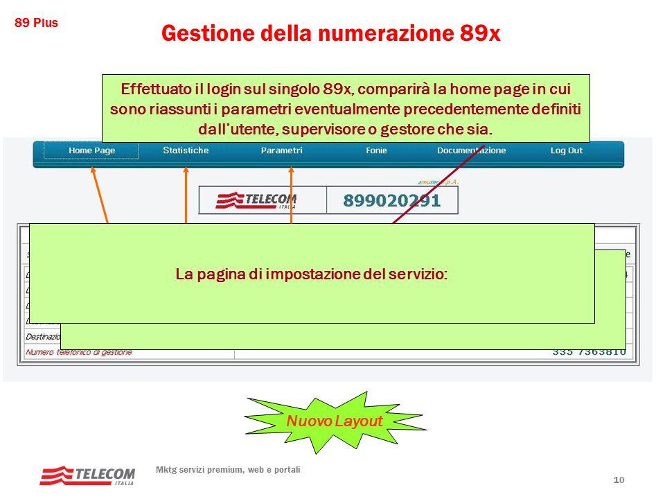 89 Plus Mktg servizi premium, web e portali 10 Gestione della numerazione 89x Effettuato il login sul singolo 89x, comparirà la home page in cui sono riassunti i parametri eventualmente precedentemente definiti dall'utente, supervisore o gestore che sia.